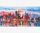 фото: картина для вышивки бисером городской пейзаж, вечерний мегаполис, небоскрёбы в лучах заходящего солнца