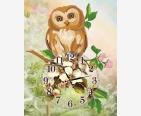 фото: схема для вышивки бисером, сова сидит на часах