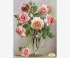 фото: картина для вышивки бисером букет нежных розовых роз