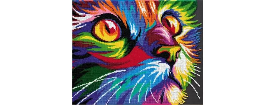 фото: картина для вышивки бисером, Неоновый кот