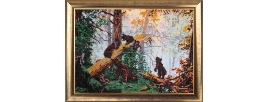 фото: картина для вышивки бисером Утро в сосновом лесу по картине Шишкина