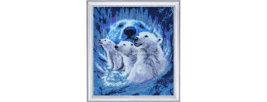 фото: картина для вышивки бисером в круговой технике белые медведи