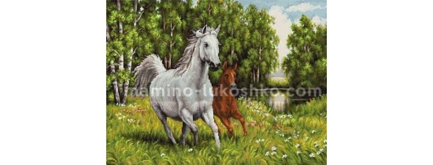 фото: картина для вышивки бисером Пара лошадей