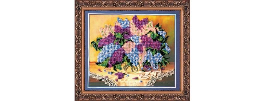 фото: картина для вышивки бисером, букет сирени