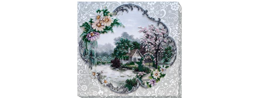 фото: картина для вышивки бисером с галерейной натяжкой пейзаж с домиком
