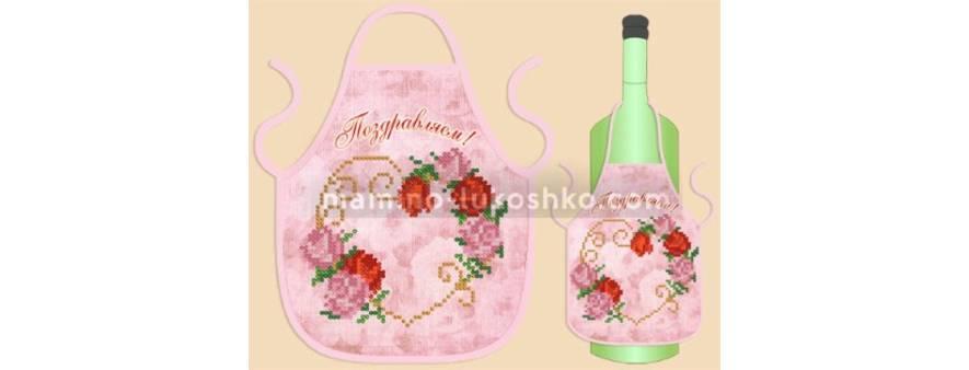 фото: фартук на бутылку под вышивку бисером с цветочным сердцем