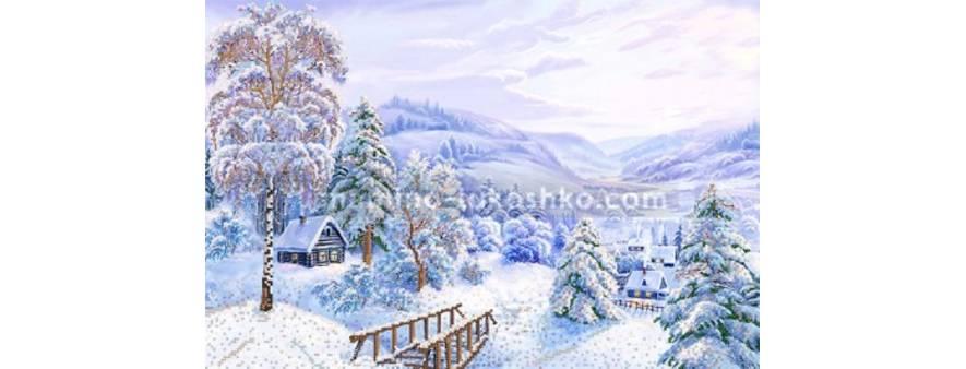 Фото картины для вышивки бисером зимний пейзаж