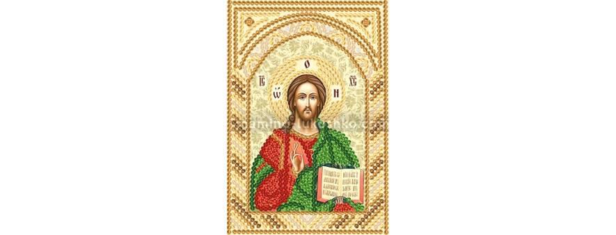 изображение: икона для вышивки бисером маленького формата Господь Вседержитель