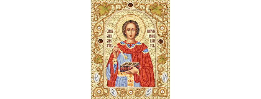 Икона пантелеймона-целителя — вышивка бисером, пришив декоративных элементов, мастер-класс