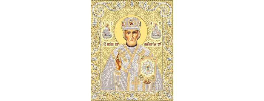 Икона Николая Чудотворца — вышивка бисером, криволинейная техника, мастер-класс