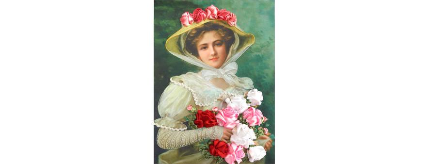 Дама в шляпе с розами — вышивка лентами, материалы, мастер-класс