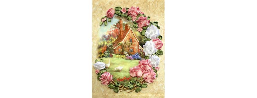 Домик в розах — вышивка лентами плоский узел, мастер-класс