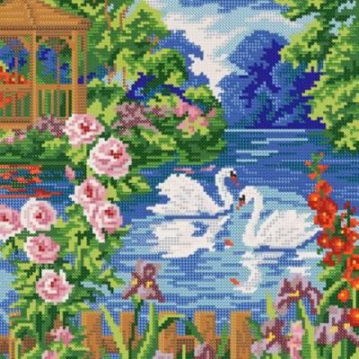 Схема для вышивки бисером Белые лебеди