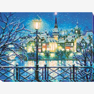 фото: картина для вышивки бисером зимний вечер
