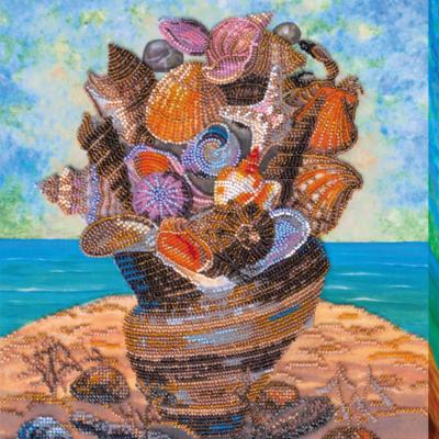 фото: картина для вышивки бисером, морские ракушки