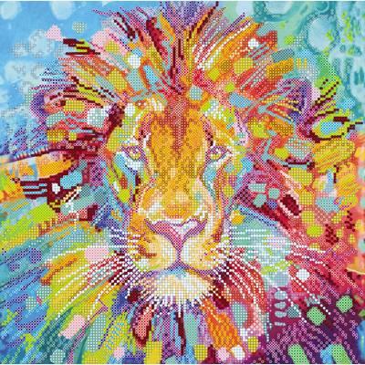 Схема для вышивки бисером Разноцветный лев