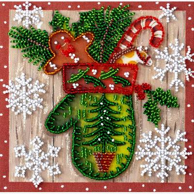 фото: картина для вышивки бисером детский праздник, новый год, новогодняя атрибутика, новогодние украшения, новогодняя варежка