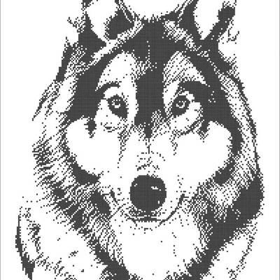 фото: картина, вышитая бисером, Волк
