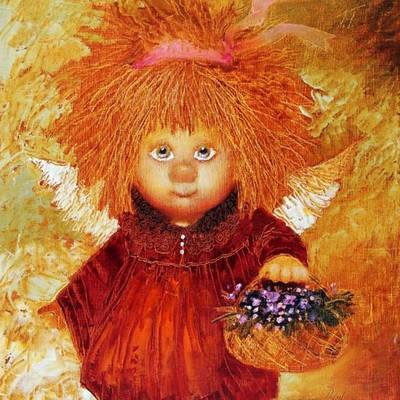 фото: картина в алмазной технике, рыжий ангел с крыльями и корзинкой цветов