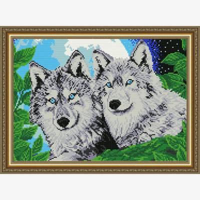 Набор в технике алмазная вышивка Волки лунной ночью