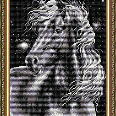 Набор в технике алмазная вышивка Конь черный