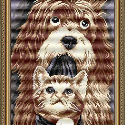 Набор в технике алмазная вышивка Собака с котенком
