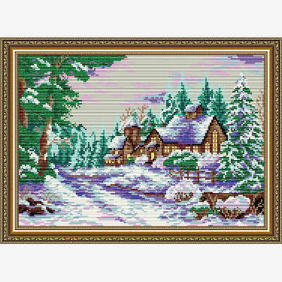 Набор в технике алмазная вышивка Усадьба в зимнем лесу