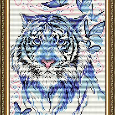 Набор в технике алмазная вышивка Тигр синий