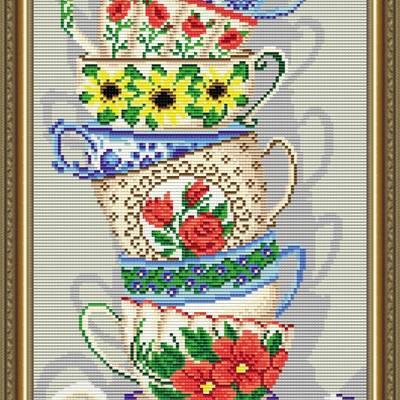 Набор в технике алмазная вышивка Чашки с бабочкой