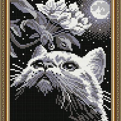 Набор в технике алмазная вышивка Кот с веточкой
