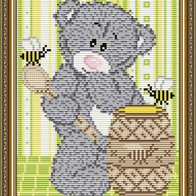 Набор в технике алмазная вышивка Мишка с медом