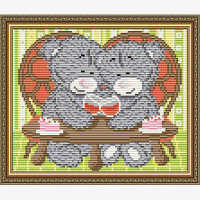 Набор в технике алмазная вышивка Мишка на свидании