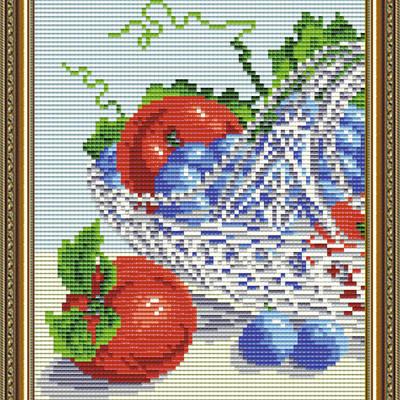 Набор в технике алмазная вышивка В хрустале. Виноград с яблоками. Диптих 1