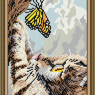 Набор в технике алмазная вышивка Котенок и бабочка