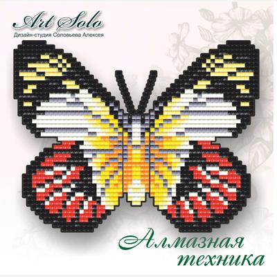 Набор в технике алмазная вышивка магнит-бабочка Алая Изабель