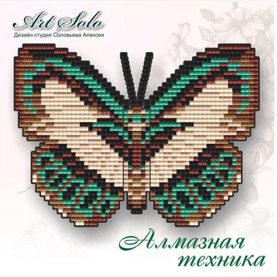 Набор в технике алмазная вышивка магнит-бабочка Голубянка Данис