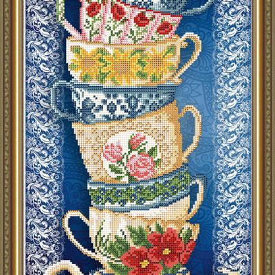 Схема для вышивки бисером Чашки на синем