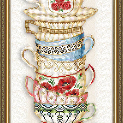 Схема для вышивки бисером Чашки с розой