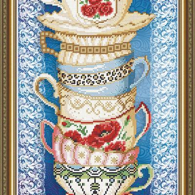 Схема для вышивки бисером Чашки с розой на синем