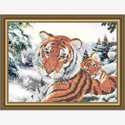 Схема для вышивки бисером Тигрица с тигренком