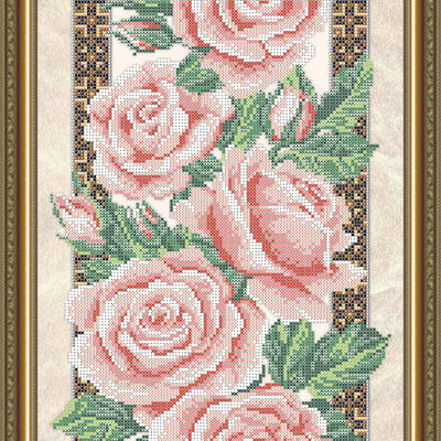 Схема для вышивки бисером Розы (на бежевом)