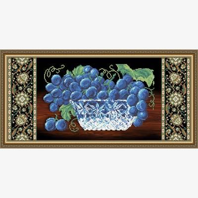 Схема для вышивки бисером Хрусталь. Виноград на черном