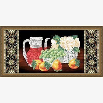 Клон из Схема для вышивки бисером Хрусталь. Хурма и виноград на черном