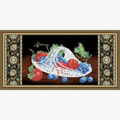 Схема для вышивки бисером Хрусталь. Виноград и яблоки на черном