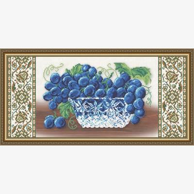 Схема для вышивки бисером Хрусталь. Виноград на бежевом