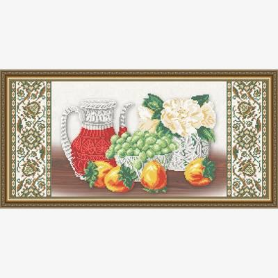 Схема для вышивки бисером Хрусталь. Хурма и виноград на бежевом