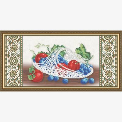 Схема для вышивки бисером Хрусталь. Виноград и яблоки на бежевом