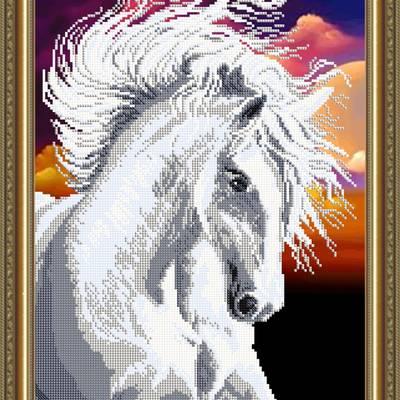 Схема для вышивки бисером Белая лошадь