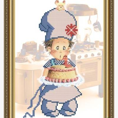 Схема для вышивки бисером Поваренок с тортиком