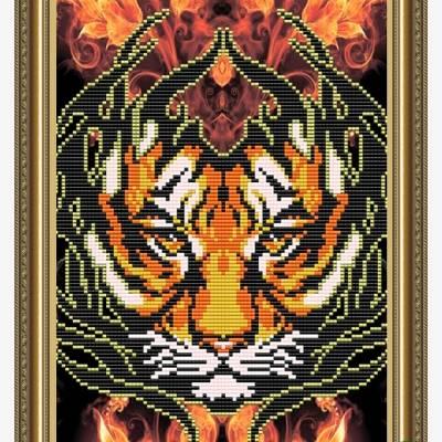 Схема для вышивки бисером Огненный тигр